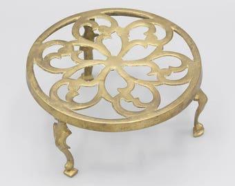 Solid Brass Three Legged Trivet Pot Stand