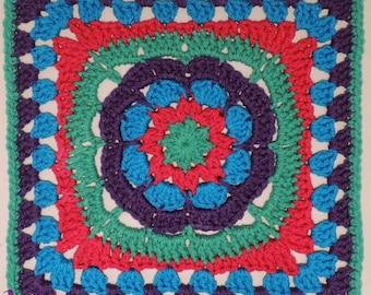 "Flower Burst - Crochet PATTERN PDF ONLY ~ 12"" afghan square"
