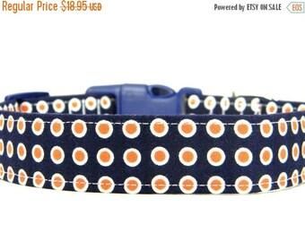 ON SALE READY to Ship- Dog Collar, Navy Orange Dog Collar, Pet Collar: Orange Olives