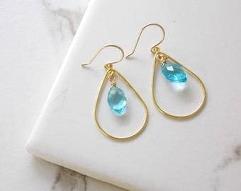 Gold Filled Blue Quartz Earrings. Blue Gemstones, Gold Filled