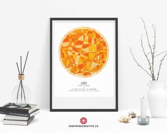 LEO Zodiac Constellation Poster - Abstract Modern Art Gallery Quality Giclée Print- Astrology and Horoscopes art print- Birthday gift