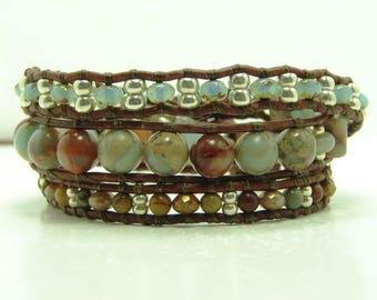 Aqua Terra Jasper Beaded Leather Wrap Bracelet, Blue Beaded Wrap Bracelet, Blue Mix Triple Wrap Bracelet, Southwestern Style Wrap