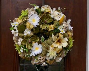 Spring/Summer Burlap and Mesh Wreath