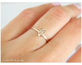 Rose Gold Engagement Ring, Diamond Engagement Ring, Promise Ring, April Birthstone, Anniversary Ring, Promise Ring, Herkimer Engagement Ring