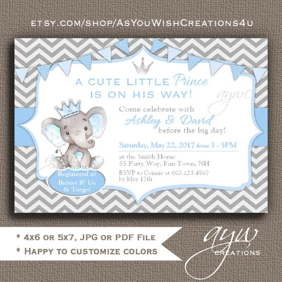 Elephant Baby Shower Invitations Boy Elephant Prince Baby Shower ...