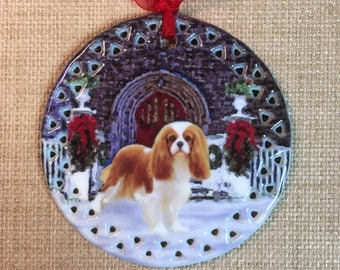 Blenheim Cavalier King Charles Spaniel Seasons Greetings Ornament