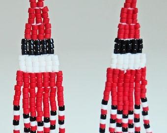 Red, Black, and White Fringe Earrings