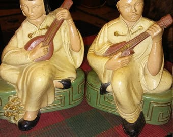 Asian Chalkware / Wood Man And Woman Bookends...New Arrival!!!