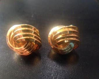 Sale Vintage Signed Trifari Gold Tone Double Knot Clip Earrings 1950s Earrings