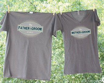 Father and Mother of the Groom Grey Emblem Shirt Set with date- two shirts - 15L
