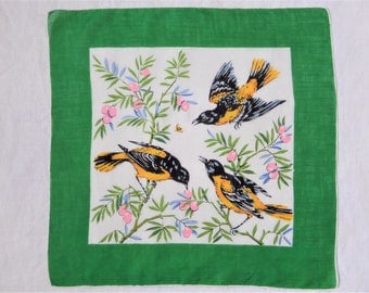 Vintage Hankie Handkerchief Birds Green Yellow