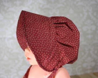 Prairie Bonnet, Pioneer Bonnet, Frontier Bonnet, Sun Bonnet, Historic, Sun Hat, Hat, Infant Girl's Bonnet, FREE SHIPPING!