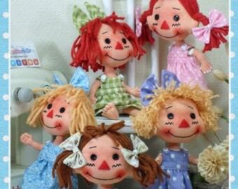 "6.5"" Cloth Doll Pattern,Soft Doll Pattern, Primitive Doll Pattern, Raggedy Ann Pattern, PDF Doll Pattern, Digital Download, Instant Download"