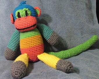 Monkey child toy, handmade crochet monkey in bright colors, taking orders
