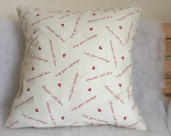 Love Heart Cushion Cover, Heart Pillow Case, Cream and Red Fabric, 16'', Bedroom Cushion, Housewarming Gift, Valentines Day Gift