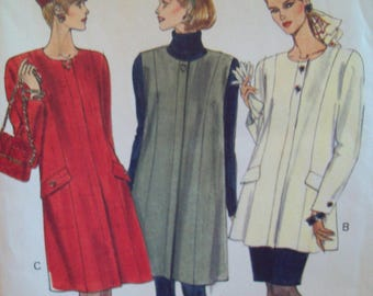1990s Vogue Easy Options Pattern 8144 Coat Dress/Jumper or Tunic & Straight Skirt Uncut Sizes 8, 10, 12
