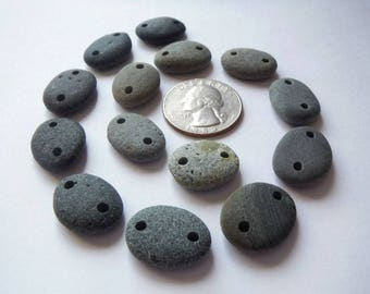Double Drilled Beach Pebble Beads - Ombre Grey - Set of 14 Beads