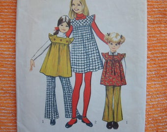 vintage 1970s Simplicity sewing pattern 5168 girls jumper or tunic and bell bottom pants size 6