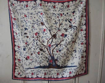 vintage 1990s acetate scarf  floral with tree  31 x 32  inches