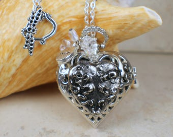 Heart Watch Pendant, Heart Watch Locket, Pocket Watch Pendant, Heart Pendant, Heart Necklace, Heart Jewelry