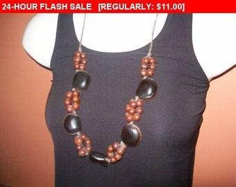 Nut necklace, vintage bead necklace, hippie