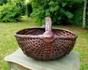 Stunning Large Antique French Unique Dark Handcrafted Rustic Willow / Reed Gathering Basket-Beautiful Basket for Flowers,Legumes,Fruits etc