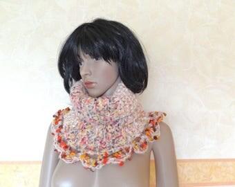 Ecru turtleneck and multicolor women hand knit Snood