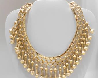 Vintage Gold Tone Dangling Choker Necklace (1772)