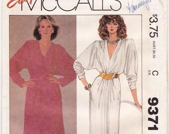 """FF 1980s Dynasty Dress Size 18-20, V Neckline Belted Waist Vintage Sewing Pattern, McCalls 9371, Bust 40"""" 42"""", UNCUT"""