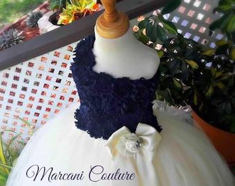 Ivory Navy Flower Girl Dress Flower Girl Dress Navy,Tutu Flower Girl Dress,Vintage Tutu Dress,Vintage Flower Girl Dress,Tulle,Tutu Dress