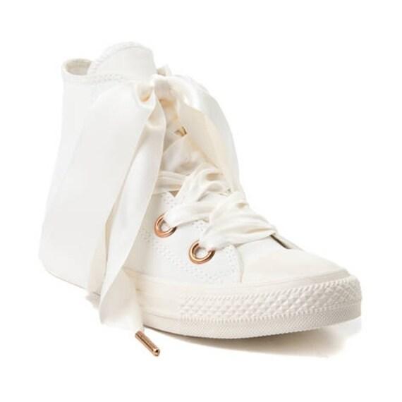 Ivory Converse Leather Rose Gold Cream Blush Wedding High Top Big Eye Satin Ribbon Chuck Taylor w/ Swarovski Crystal All Star Sneaker Shoes
