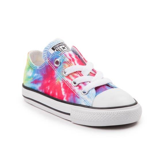 Kids Converse Childrens Toddler Baby Canvas Tie Dye Rainbow Low Top w/ Swarovski Crystal Rhinestone Chuck Taylor All Star Sneaker Shoe