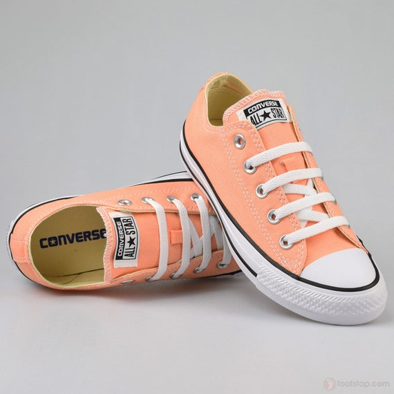 Peach Converse Low Top Kicks Custom Rose Gold Sunset Apricot Wedding Swarovski Bling Crystal Rhinestone Chuck Taylor All Star Sneakers Shoes