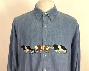 Embroidered Cow Denim Shirt