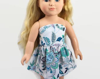 Blue and Green Boho Style Sleeveless Dress - Made to Fit 18 Inch Dolls - 18 Inch Doll Clothes  - AG Doll Clothes - Girl Doll Clothes