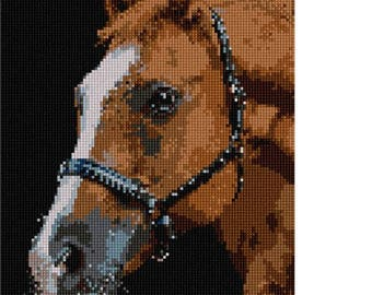 Needlepoint Kit or Canvas: Horse Up Close