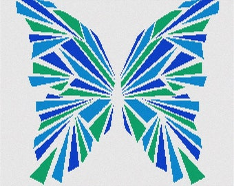 Needlepoint Kit or Canvas: Butterfly Geometry Blues