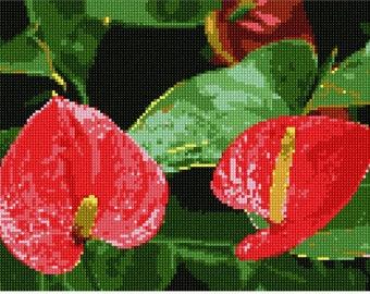Needlepoint Kit or Canvas: Anthurium Flamingo Flowers