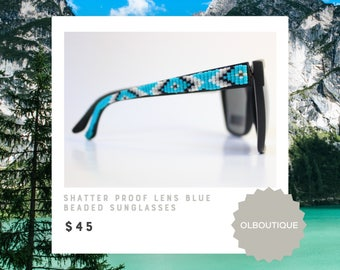 Shatter Proof Lens Black Frame Hand Beaded Turquoise Tribal Sunglasses - Native American Handcrafted