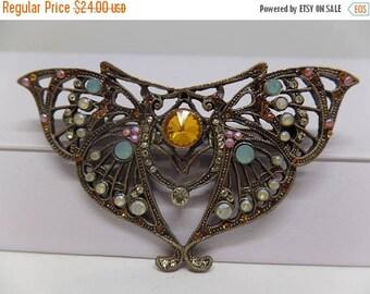 ON SALE Lovely Vintage Opaline Crystal Art Nouveau Butterfly Brooch