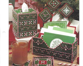 Peppermint Pretties Plastic Canvas Pattern, Tissue Box Cover, Ornaments, Coasters & Holder, Card Holder, Christmas Candy Cane, Leisure Arts