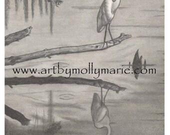 Collection of Prints of my Original Artwork of Cajun Louisiana themed drawings, Bird Reflection Pencil/Charcoal Drawing, 11x14