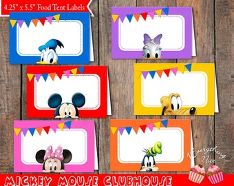 Mickey Mouse Clubhouse Theme Food Label Tents