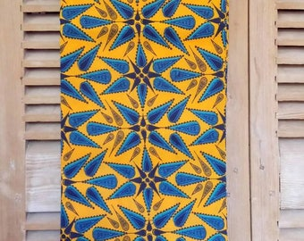 Yellow and blue African wax fabric