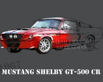 MUSTANG SHELBY GT500 CR, 8.6x12in and bigger sizes,home decor,gift for men,husband birthday,office decoration,yellow and grey print