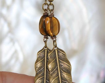 Earrings bronze feathers and Tiger eye stone