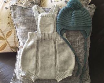 Hand knitted baby romper. Silver Grey Retro style romper suit. Baby rompers. Beautiful hand knit romper suit. Baby All in one.Ready to ship
