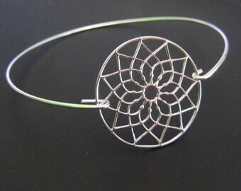 Flower Mandala Bracelet, Mandala Bangle bracelet, Sterling Silver Bracelet, Friendship Bracelet, Jewelry, Gift for Her