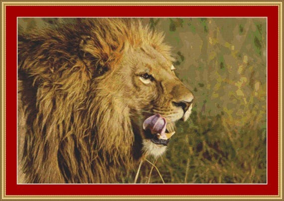 Lion Head Cross Stitch Pattern /Digital PDF Files /Instant downloadable