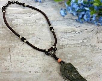 Gemstone Leaf Necklace, Carved Leaf Pendant Necklace, Leaf Jewelry, Nature Necklace, Leaf Jewelry, Autumn Harvest Fall